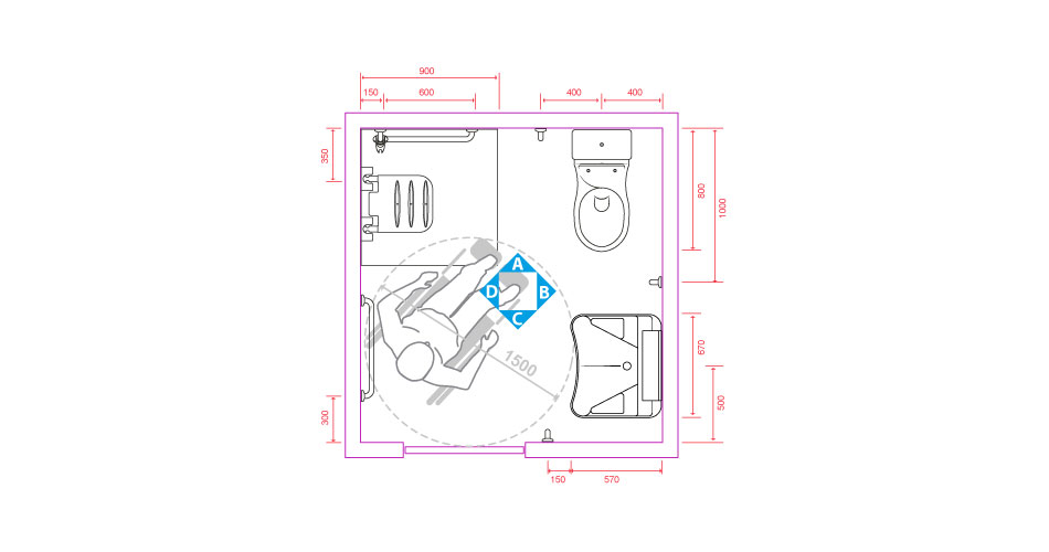 Configurazione tipo di istallazione di bagni disabili