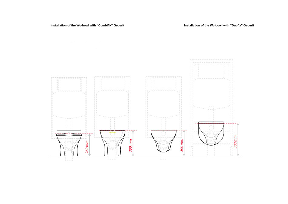 PPonte Giulio's child wc, installation of the wc bowl,  showcases