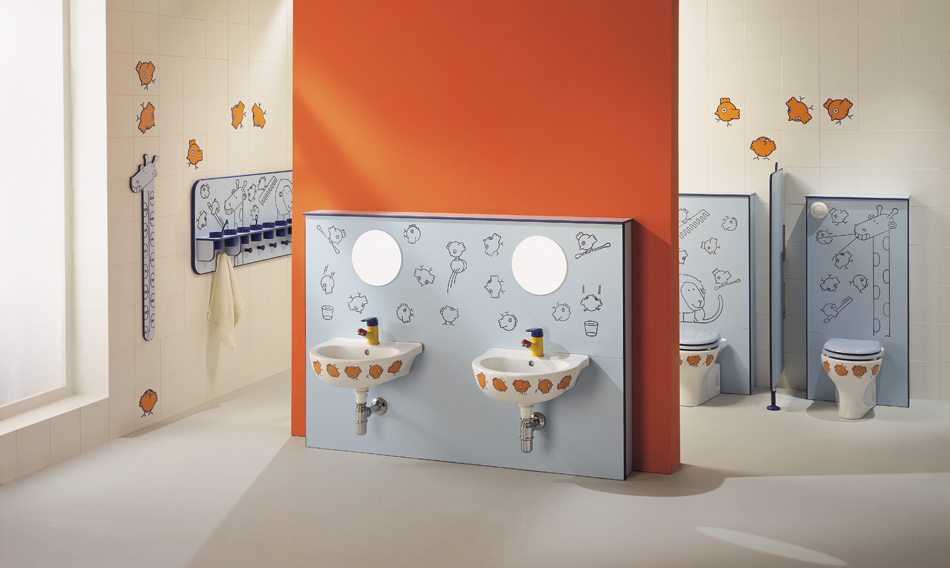 Modules fit for wash basin and WC-bowl installation, Millepiedi, showcases