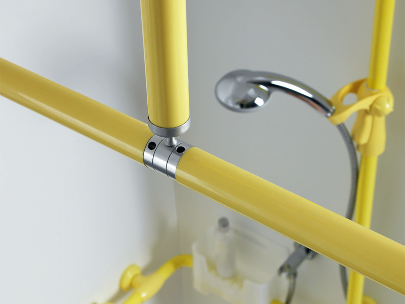 Insights: folding and removable L-shaped shower splash guard rod