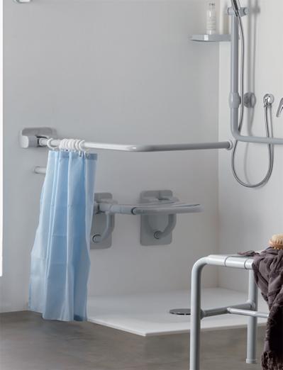 Disabled bathroom, shower curtain rails