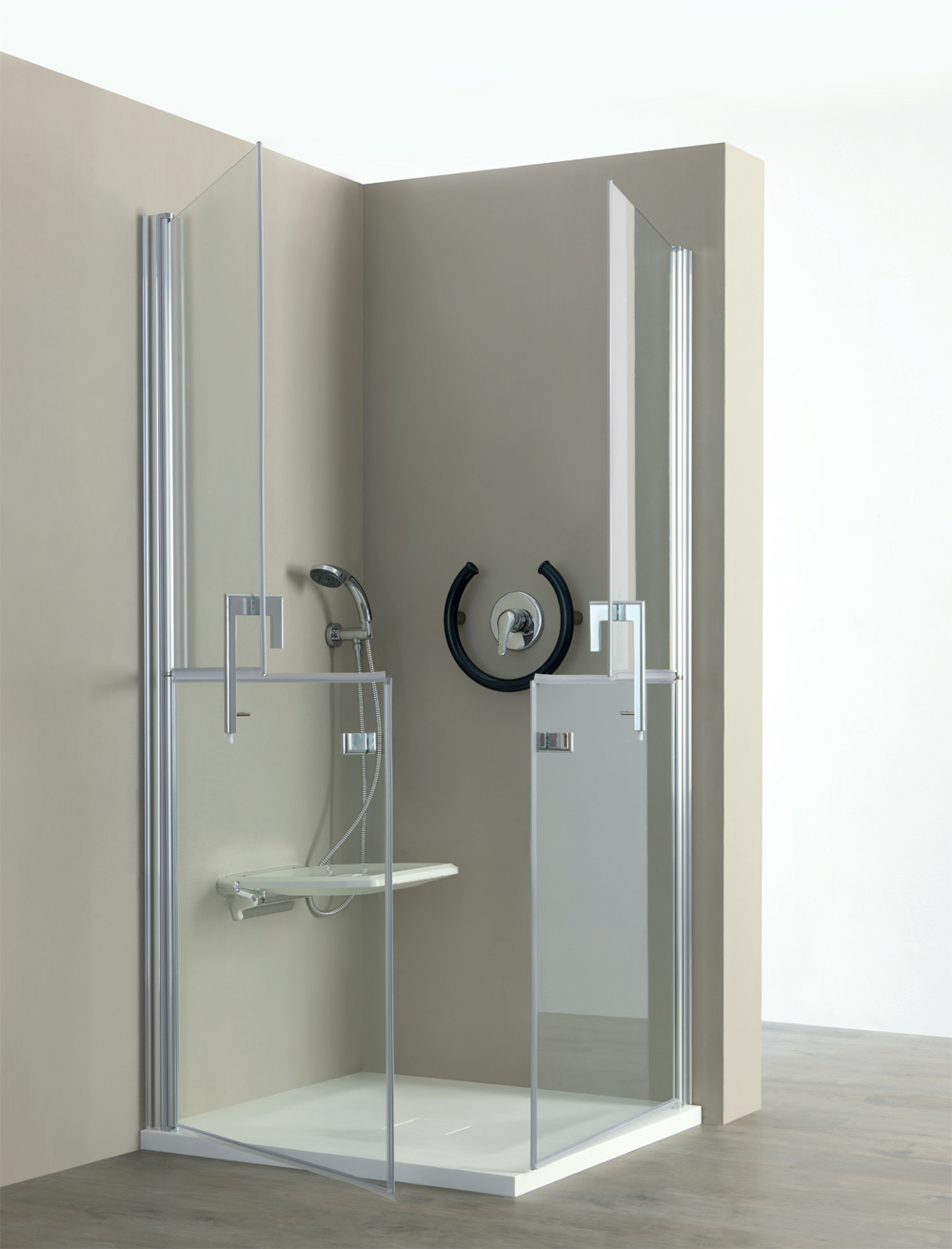 Insights: Shower Cabin With Door And Folding Seat