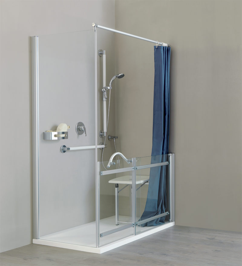 Shower and wall mounted seat with legs, grab bar and curtain