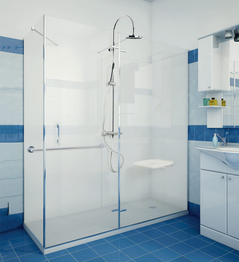 Rectangular shower with wall mounted seat and grab bar
