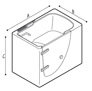 Dimensions of a walk-in bathtub with external door, showcases
