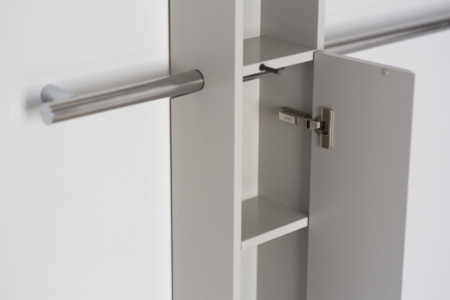 Grab bar with white cabinet