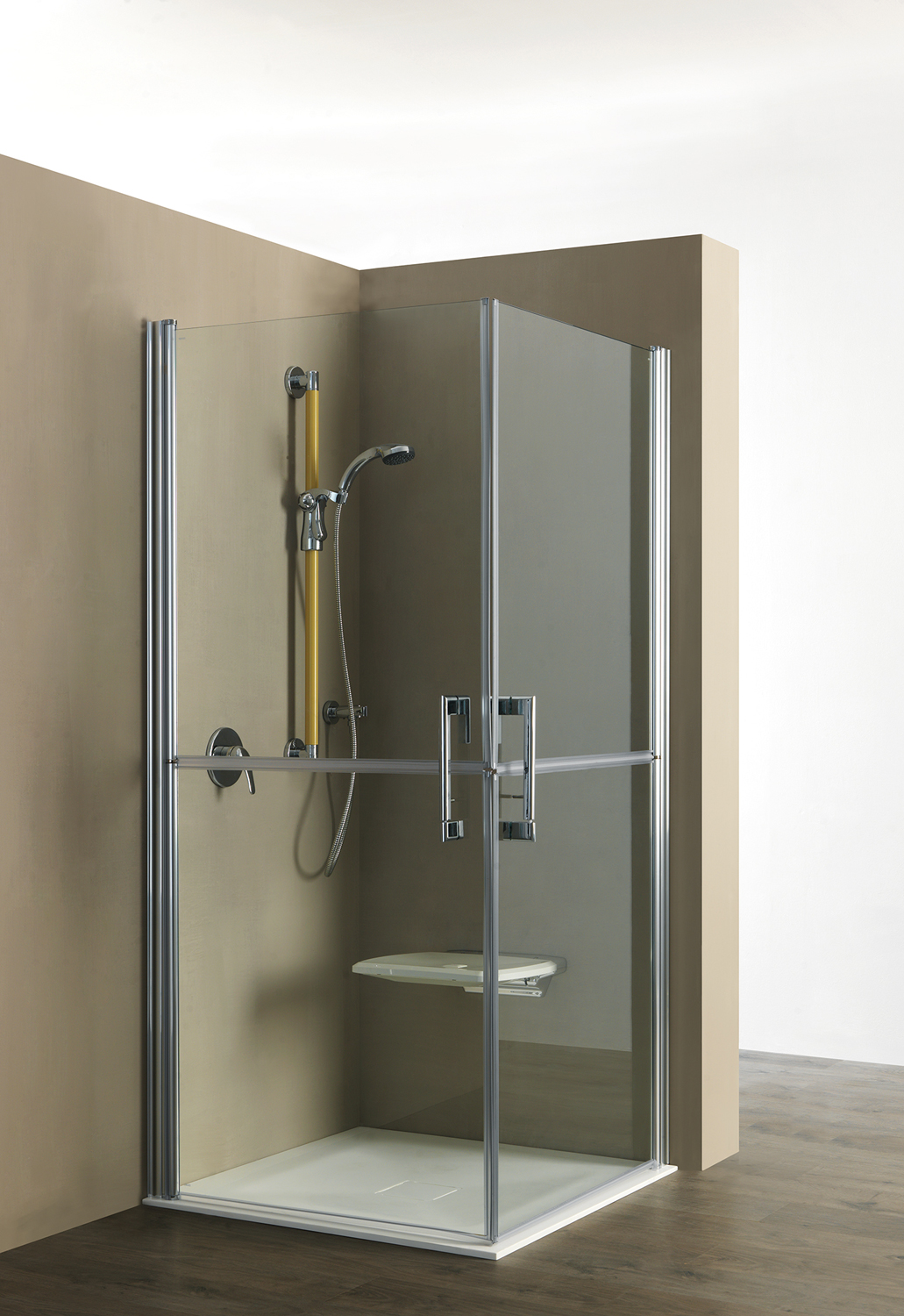 functional shower enclosure with door having a separate openings