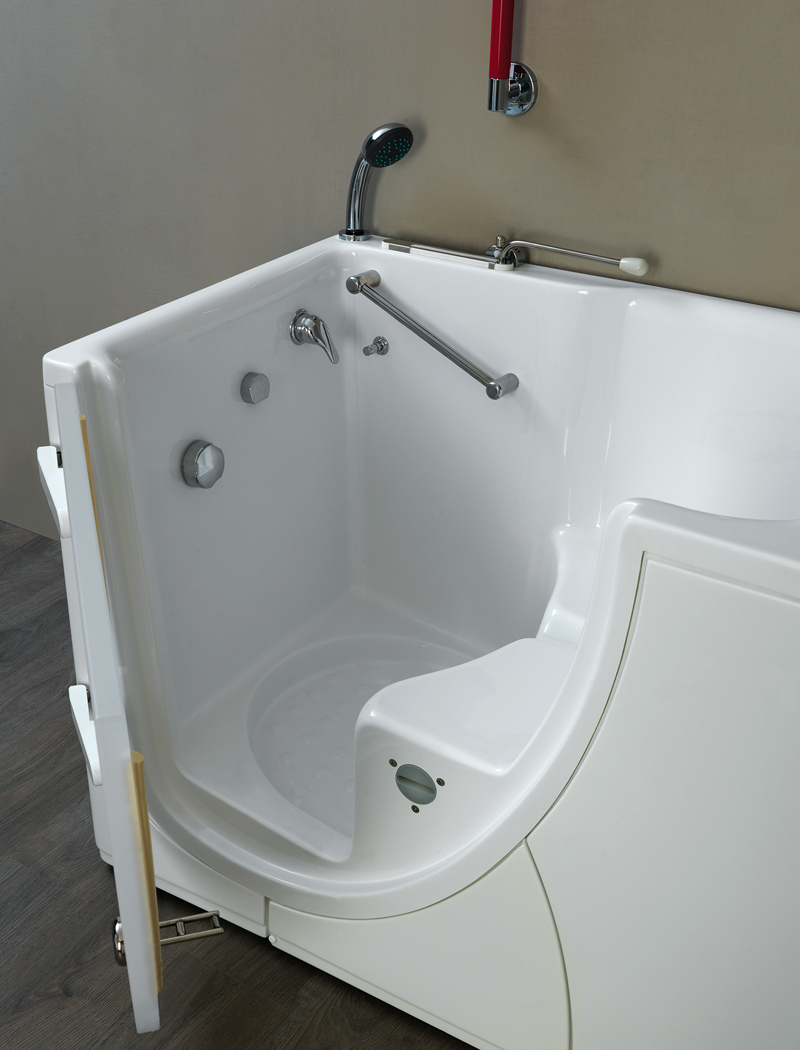 Walk-in bathtub with internal opening door for disabled bathroom
