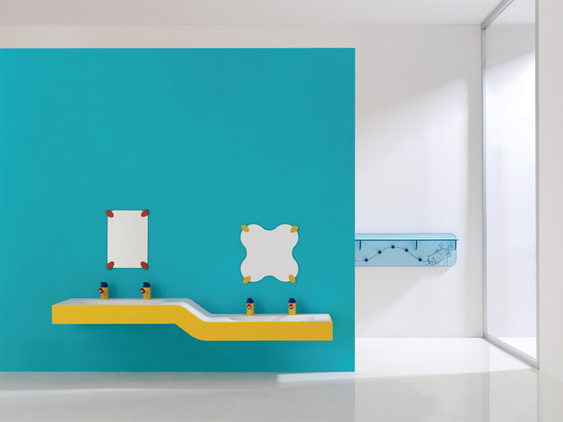 Solution for children double basin console at different height