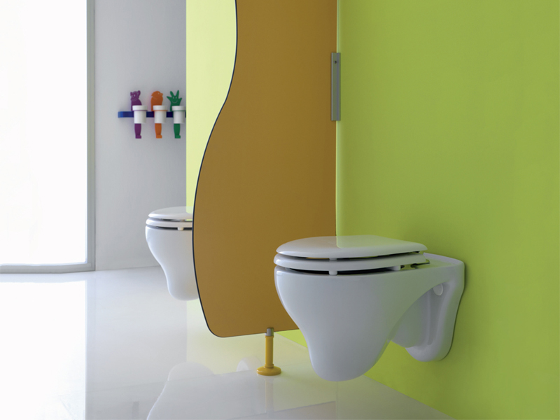 Solution for children toilet area with hanging wc-bowls