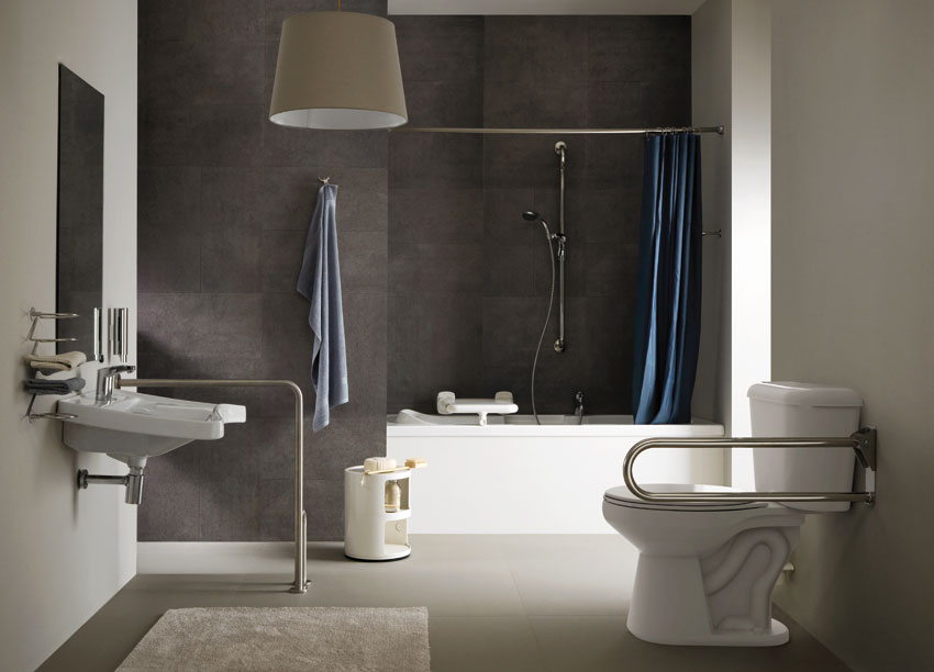 Bathroom environment with products Satin steel series - OS11