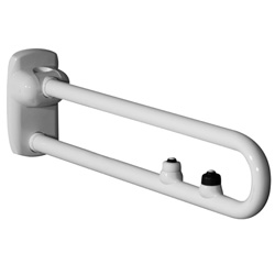 Safety folding grab rails with two electric buttonsfor flush control and emergency call
