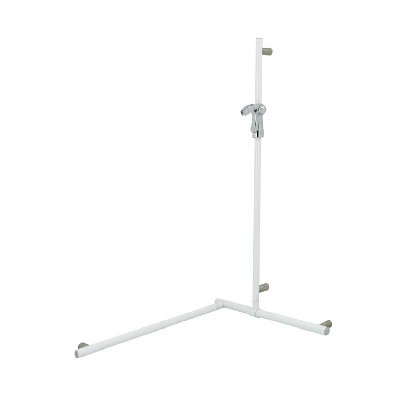 Corner grab bar with adjustable vertical slider rail and hand shower holder