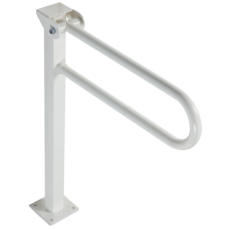 Folding grab bar on floor mounted pedestal