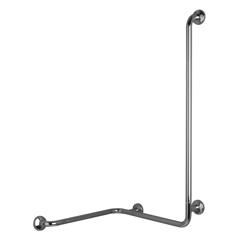 Safety handrail for corner with vertical arm at one end