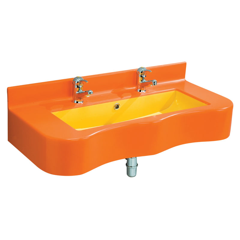 Acrylic stone rectangular console with shaped front side and basin in a contrasting colour