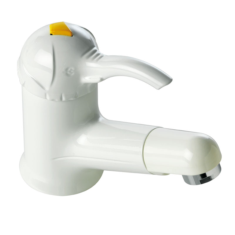 Mixer with white/chrome finish, single-lever for wash basin, elephant head lever