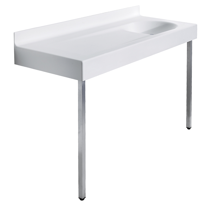 Wash basin top/baby changing unit with supporting legs to the floor