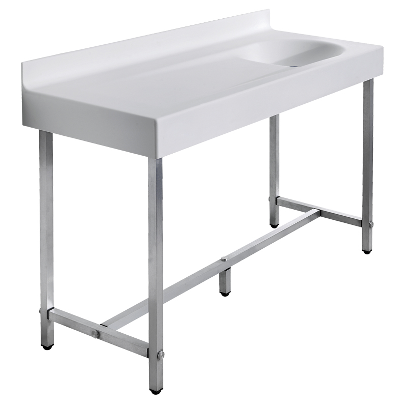 Wash basin top/baby changing unit on freestanding structure