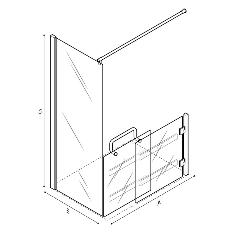 Draw Low sliding door, with fix panel and curtain shower enclosure Technical Drawing C53FBR23