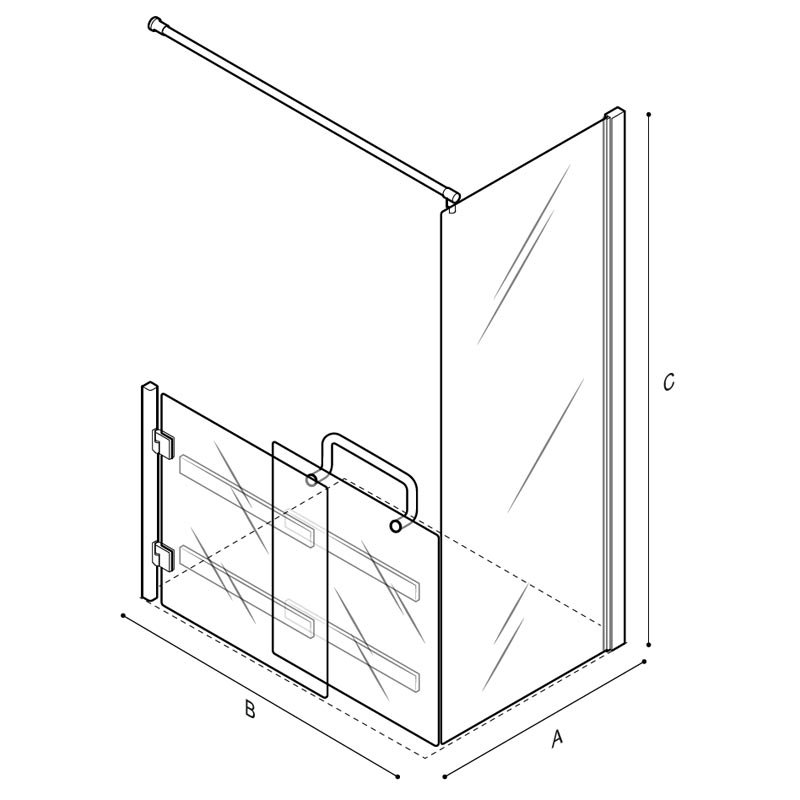 Draw Low sliding door, with fix panel and curtain shower enclosure Technical Drawing C53FBL23