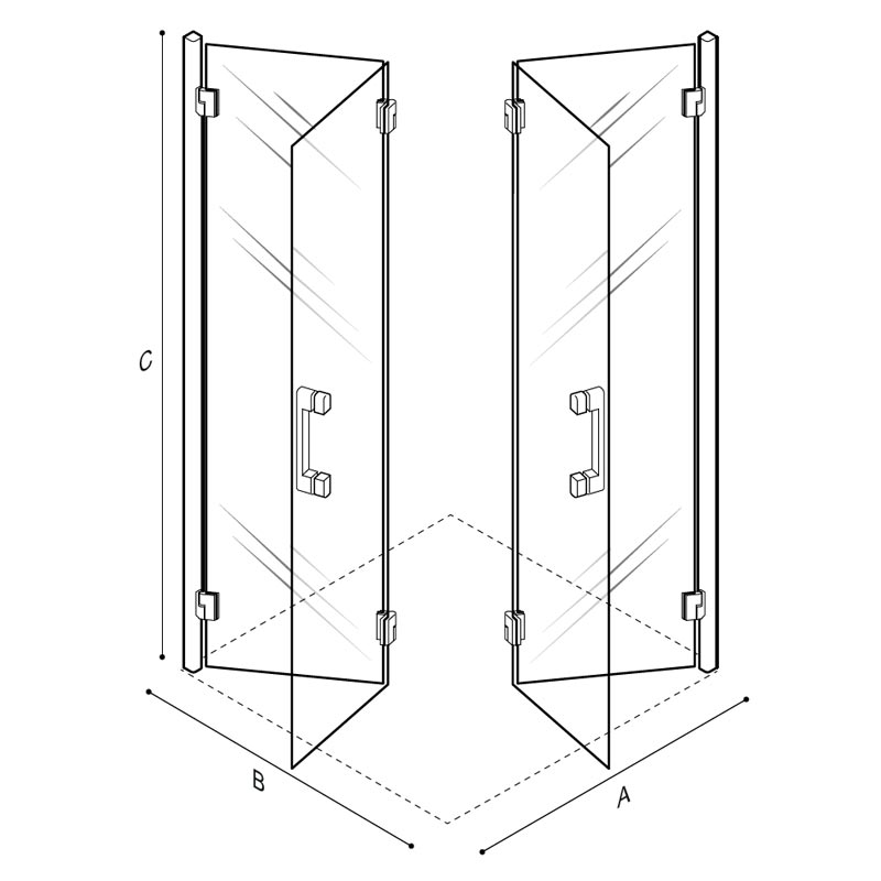 Draw Accordion doors shower enclosure, 90x90 cm. Technical Drawing C53FBS24