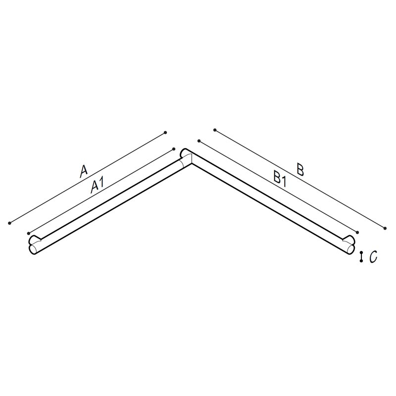 Draw Flangeless safety grab rail for corner installation Technical Drawing G18UBS31