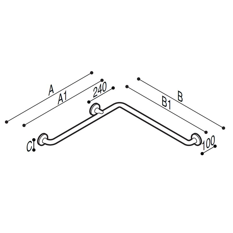 Draw Safety handrail for corner installation Technical Drawing G29JBS01