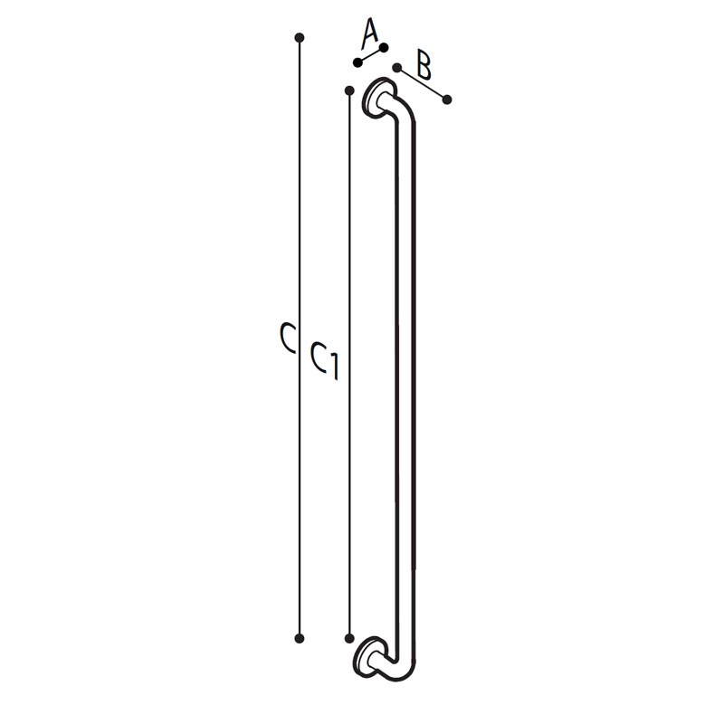 Draw Safety vertical shower grab bar Technical Drawing G29JAS09