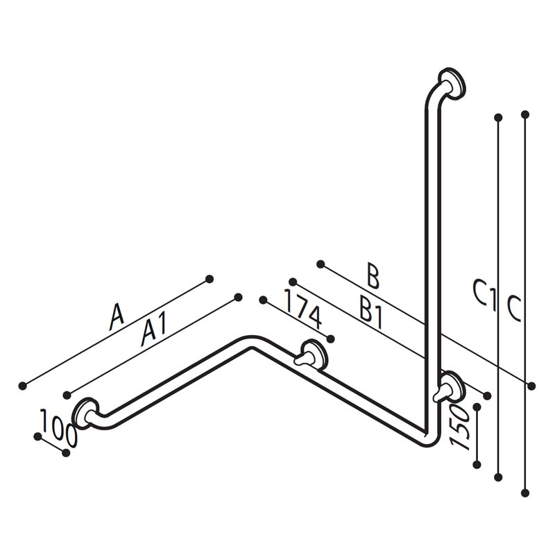 Draw Safety handrail for corner with vertical arm at one end Technical Drawing G29JBR06