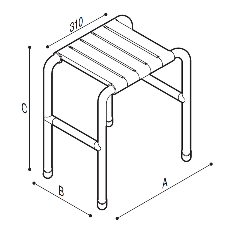 Draw Shower stool Technical Drawing G01JDS56