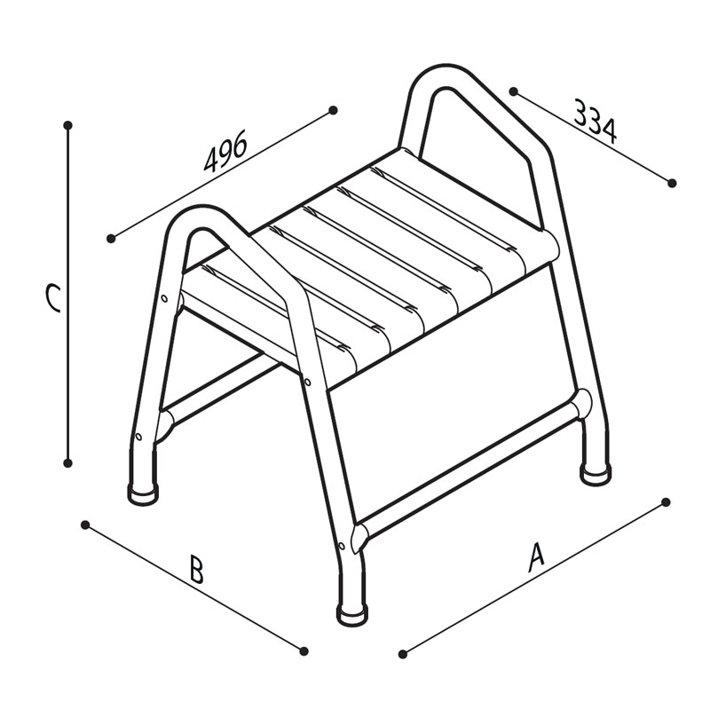 Draw Stool with handles Technical Drawing G01JDS44