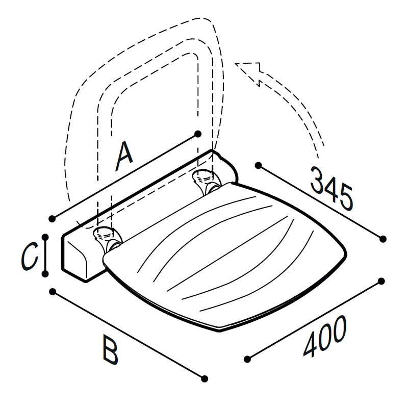 Draw Folding shower seat Technical Drawing 4FAUHS01