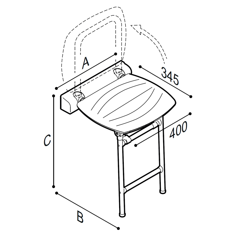 Draw Folding shower seat with support legs Technical Drawing 4FAUHS02