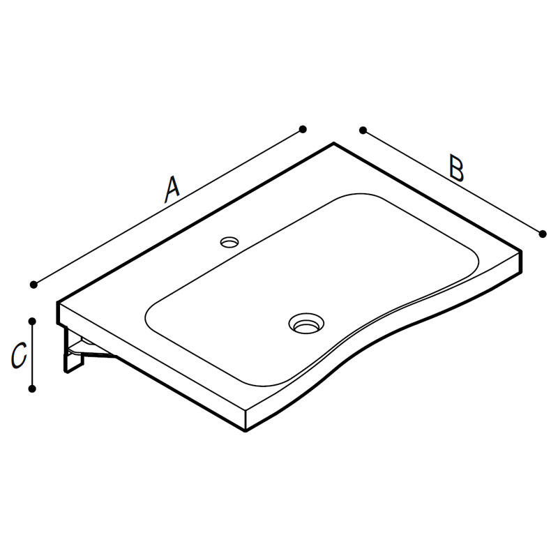 Draw Designer basin with integral hand pull Technical Drawing B46CNM06