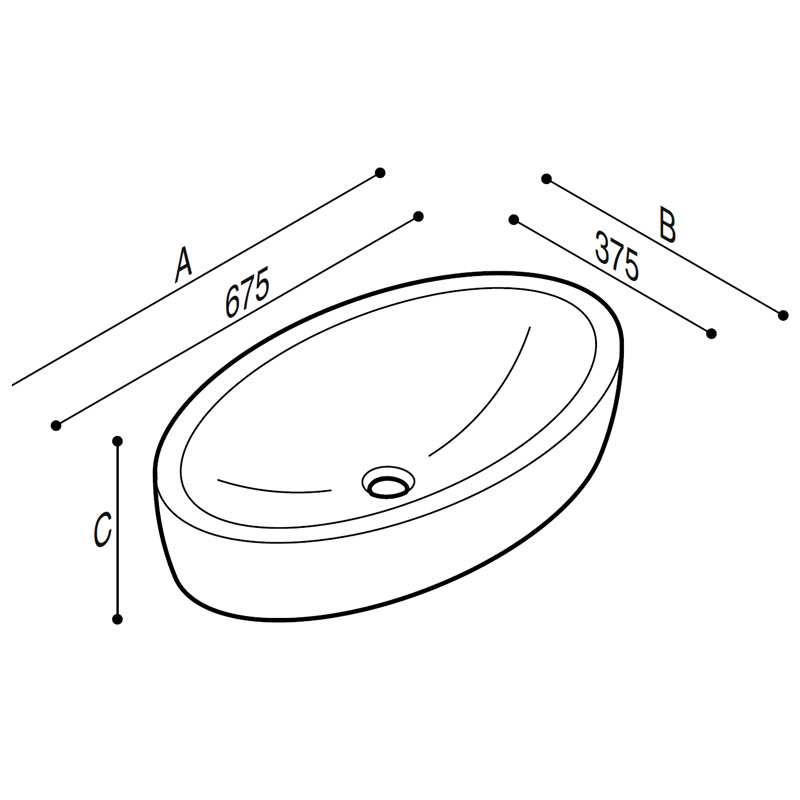 Draw Acrylic stone countertop basin Technical Drawing B46CUM01