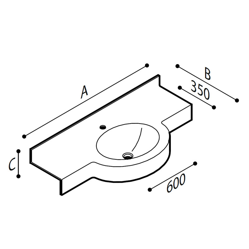 Draw Acrylic stone vanity top basin Technical Drawing B46TLM11