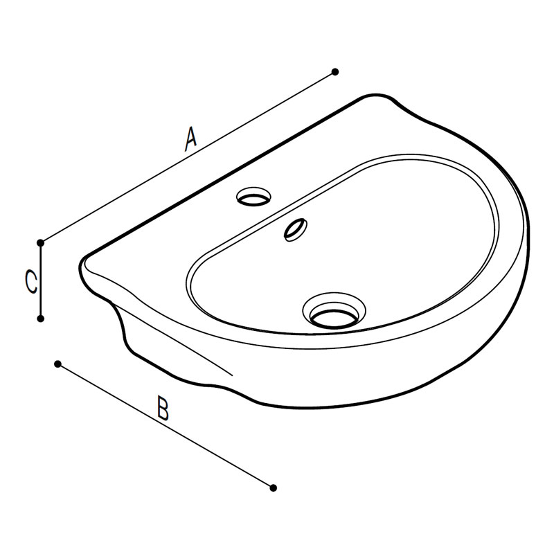 Draw Cantilevered wash basin for children use Technical Drawing B44CMD02