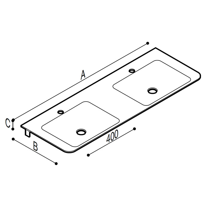 Draw White acrylic stone tiny rectangular console with double sink. Technical Drawing B44CNM07