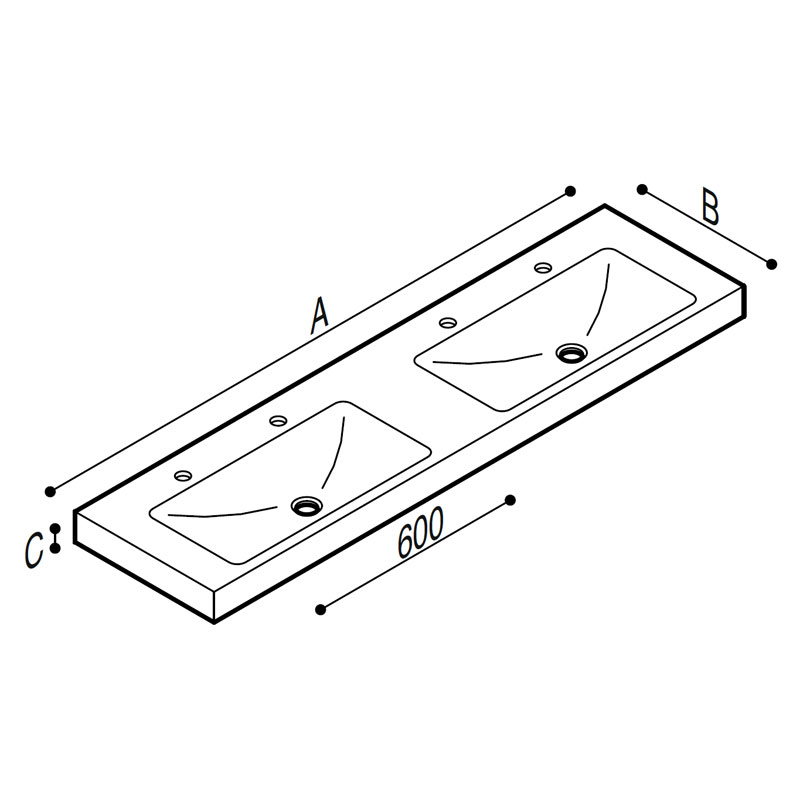 Draw Acrylic stone rectangular console, with double basin Technical Drawing B44CNM14