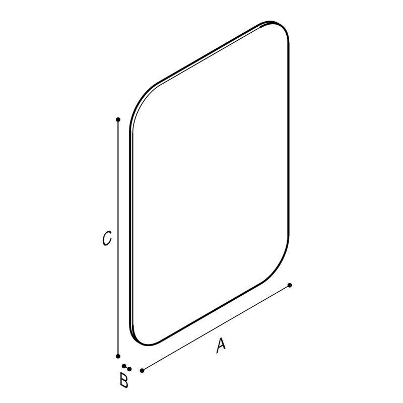 Draw Frameless rectangular shaped mirror in safety glass Technical Drawing F44ATS01