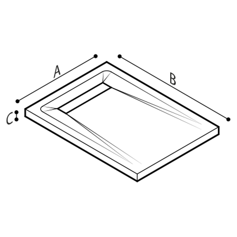 Draw Shower tray with grid drain Technical Drawing B46CPM01