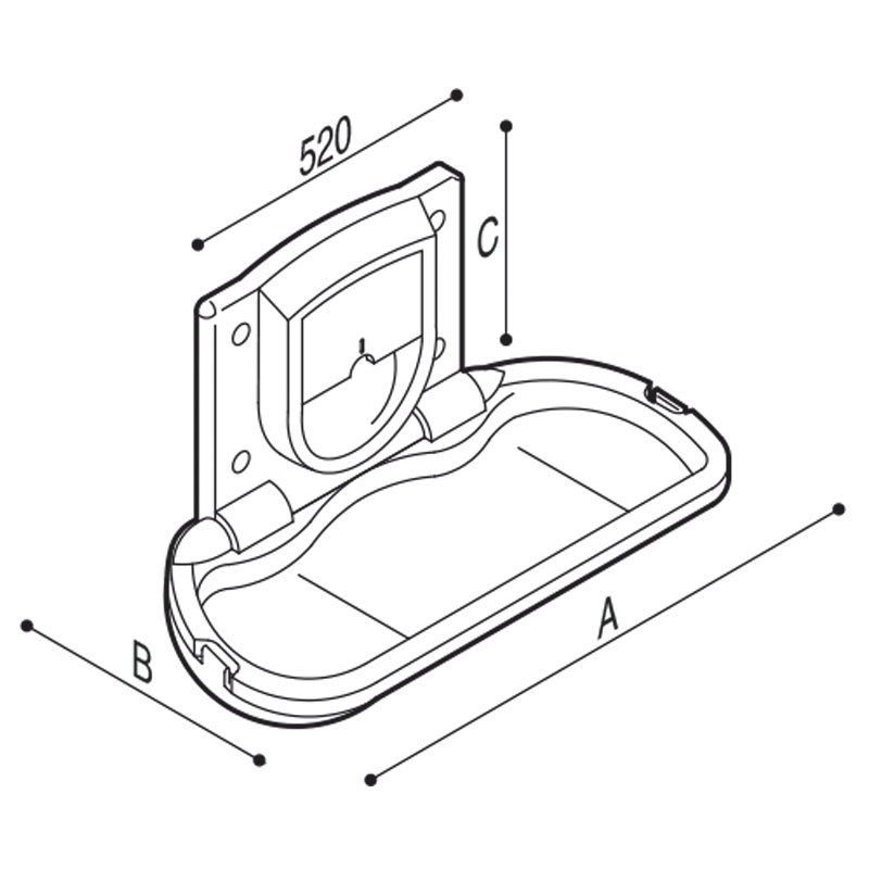 Draw Wall-mounted folding baby changing unit Technical Drawing F70APS01