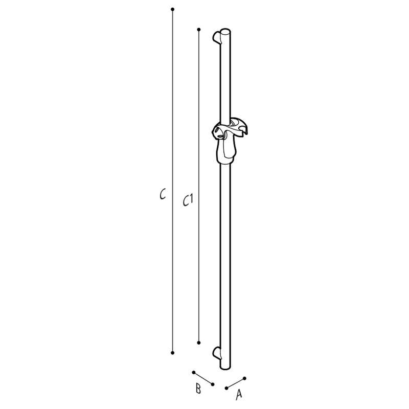 Draw Vertical fixed slider grab rail including the showerhead holder Technical Drawing G18UOS31