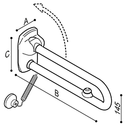 Draw Safety folding grab rail with electric button Technical Drawing G27JCS57