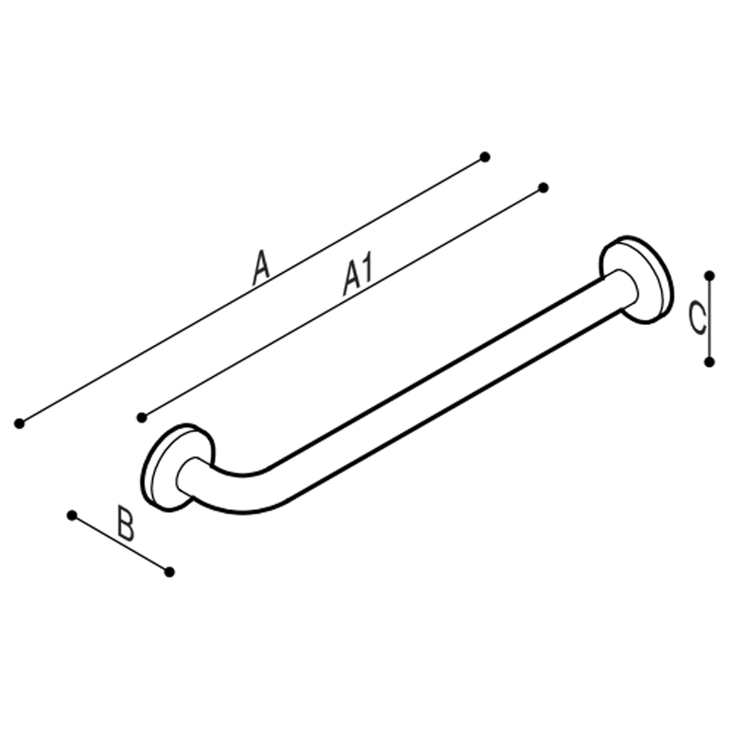 Draw Straight safety grab bar with one 90° fixing flange Technical Drawing G40JAS32