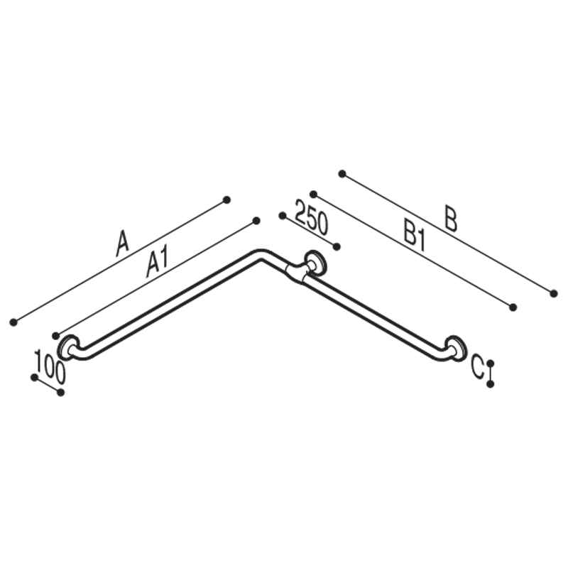 Draw Safety handrail for corner installation Technical Drawing G40JBS03