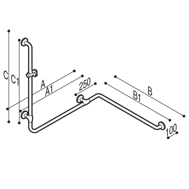 Draw Safety handrail for corner with vertical arm at one end Technical Drawing G40JOS06