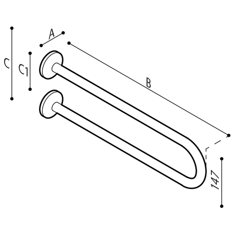 Draw U-shaped safety grab bar Technical Drawing G40JQS01
