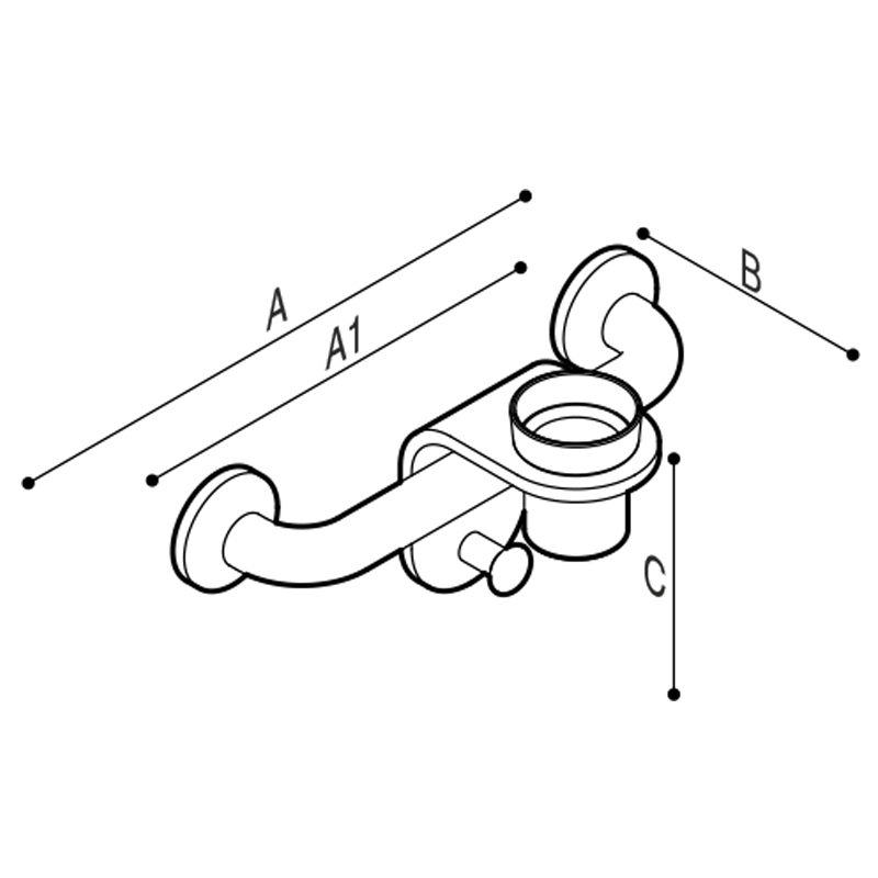 Draw Bar with cup holder modules equipped with robe hooks. Technical Drawing G44JES01